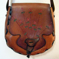 Woodstock Hippie Purse Tooled Leather Hand by wroughtironvintage