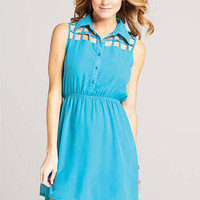 Blake Lattice-Top Shirt Dress