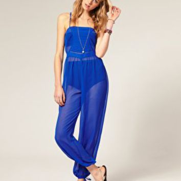 ASOS Pleat Front Chiffon Beach Jumpsuit at asos.com