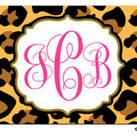 Personalized BROWN HOT PINK Leopard Cheetah Animal Print License plate car Tag Name Flourish Monogram