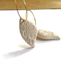 Milky White  Lace Texture Earrings  Handmade Jewelry