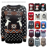 LADIES MENS XMAS CHRISTMAS JUMPERS SNOWMAN FAIRISLE NOVELTY REINDEER SWEATER