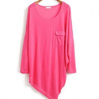 Rhodo Knit Tops with Asymmetrical Hem
