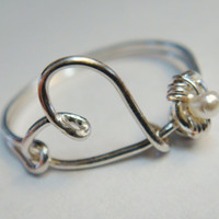 Heart Love Ring - Heart Love Pearl Ring - Pearl Ring - Sterling Silver Love Ring - Friendship Ring