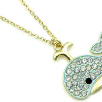 Pinup Navy Girl Mrine animal Kawaii Blue baby whale necklace