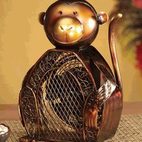 Table Fan Monkey Figurine Design in Brown and Gold Finish