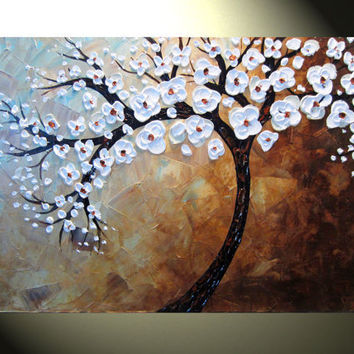 Original Abstract Tree Painting Textured Tree by ChristineKrainock