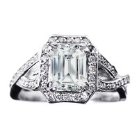 Engagement Ring - Emerald Cut Diamond twisted Band Engagement Ring 0.72 tcw. In 14K White Gold - ES359