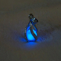 "Mermaid's Magic ""White Gold"" - Midnight Blue Glow in the Dark Pendant with Glowing Essence of the Sea - White Gold Plated"