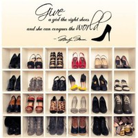 Amazon.com: Marilyn Monroe Give A Girl Shoes....Conquer the World Quote Wall Decal Decor Large Nice Sticker: Everything Else