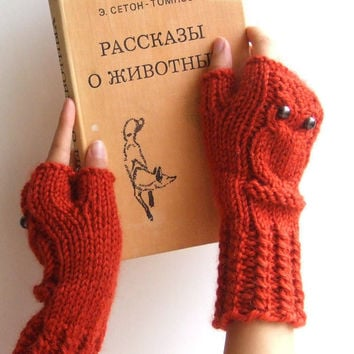 Owl fingerless mittens / gloves made of wool alpaca by CozySeason