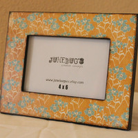 4x6 Wood Photo Frame- Decoupage Yellow Blue Flowers