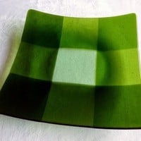 Large Glass Plate in Green Plaid Pattern by bprdesigns on Etsy