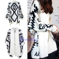 Women Geometric Pattern Oversized Open Front Loose Sweater Wrap Cape Cardigan