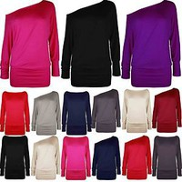 Ladies Long Sleeve One Off Shoulder Top Womens Batwing T Shirt Jumper 8 10 12 14