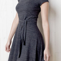 CYBER SALE Snap Neck Dress in Gray Heather