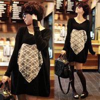 Women Heart-shaped Lace New Hip-length Batwing Loose Jumpers Knitwear Sweaters