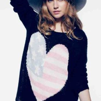 Wildfox Couture USA Heart Billy Sweater in Clean Black