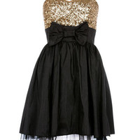 Black/Gold Sequin Top Skater Dress - Clothing - desireclothing.co.uk