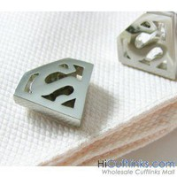 Hollow Superman Cufflinks - Novelty Cufflinks