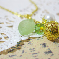 Green Leaf Necklace - Faux Glass Pearl Bead - Green Glass Beads - Gold Plated Chain Necklace - Everyday Short Dangle Necklace