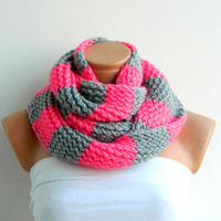 Cyber Monday Etsy Sale -Striped Gray and Pink Hand knitt infinity scarf Block Infinity Scarf. Loop Scarf, Circle Scarf, Neck Warmer.