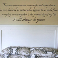 "Wall Vinyl Quote - ""I Will Always Love You"" Quote from The Notebook (48""x 15"")"