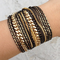 Black Gold chunky chains Bracelet - 24k gold plated