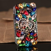 Samsung Galaxy S2 S3 i9308 9300 Colorful Rhinestones crystals crown back Cover for girls - Samsung Phone Cases - Phone Cases Rhinestones iPhone 5 4S 3GS Cases, Couple Necklaces / Wedding Rings & Uncommon Gift Ideas - Worldwide Shipping