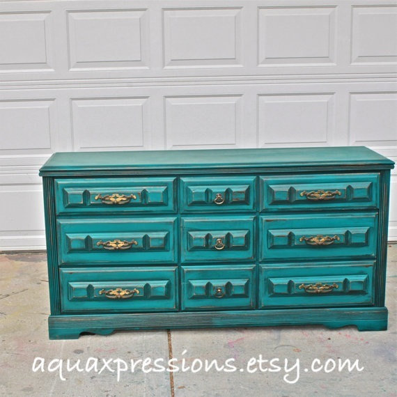 Teal Vintage Dresser Bright Buffet From Aquaxpressions On Etsy