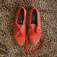Retro Dorothy- Red Suede Leather Lace Up Keds Womens Size 9 1/2