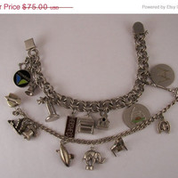 Holiday SALE Vintage sterling silver Charm Bracelet and Charm lot
