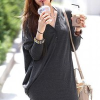 Simple Fashion Long Bat-Wing Gray Blouses : Wholesaleclothing4u.com