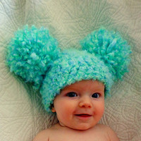 Baby Hats Baby Girl Hats Baby Pom Pom Hats Crochet Baby Girl Hats Newborn Photography Props Hats Photo - Sea Green
