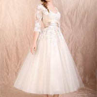 Tea-length lace long sleeves Ivory sash 2012 white wedding dresses BABG0014