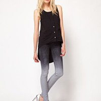 Just Female Dip Dye High Waist Skinny Jeans at asos.com