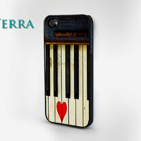 Vintage Piano and Heart  - iphone 5 cases - iphone 4s case - iphone 4 case