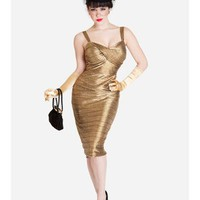 Metallic Gold Glamour Curvy 50s Style Bombshell Cocktail Dress-Bettie Page Clothing-Retro Dresses