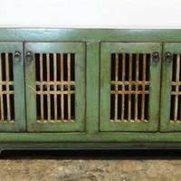 Low Sideboard Green Four Cage Style Doors