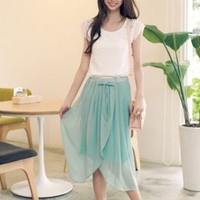 Elegant Petal Style Ladies Chiffon Skirts Green  : Wholesaleclothing4u.com