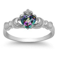 Claddagh ring Rainbow Mystic Topaz Sterling Silver size 3 4 5 6 7 8 9 10 11 12 CZ Irish St. Patrick&#x27;s Day
