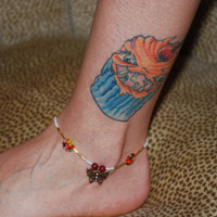 Swarovski Butterfly Charm, Beaded anklet, ooak accessories, red and gold anklet, floral anklet