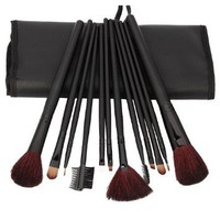 12pcs Professional Black Rod Cosmetic Makeup Make up Brush Brushes Set Kit with Bag Case