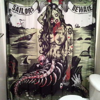 SAILORS BEWARE SHOWER CURTAIN Zombie Tattoos Mermaid Black Green Too Fast punk 1