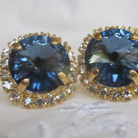 Cyber Monday sale - London blue topaz and clear Swarovski crystal large stud earrings, Bridal earrings, Bridesmaid earrings, Royal blue