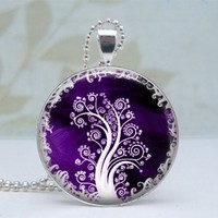 White Tree in Purple Pendant - Glass Dome Silver Necklace by Lizabettas on Sense of Fashion