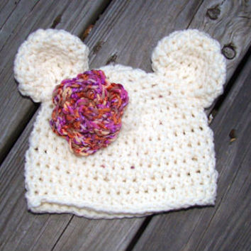 Sale - Baby Bear Hat -Cream with Purple Rosette -Crocheted beanie -Photography Prop - size Newborn - 4T - Made to Order