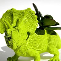 Triceratop Dinosaur Planter Green for Succulent by crazycouture