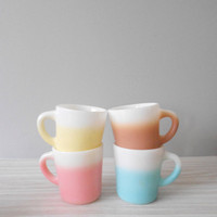 pastel milk glass coffee mugs // set of 4
