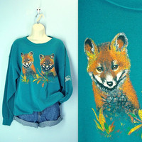 Vintage Fox Sweatshirt / Teal Green Fox Top